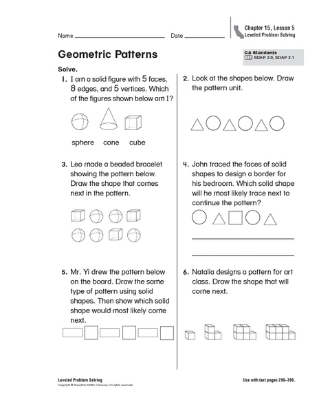Geometric Patterns Worksheets 5th Grade - geometric patterns ...