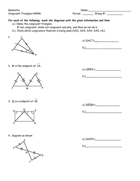 Worksheets Congruent Triangles Worksheet geometry congruent triangles hw6 8th 10th grade worksheet lesson planet