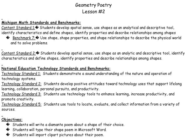 math worksheet : geometry poetry 3rd  5th grade lesson plan  lesson pla  : Diamante Poems Lesson Plans For 4th Grade