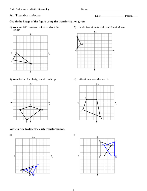 geometric transformations worksheet laveyla – Transformations Math Worksheets