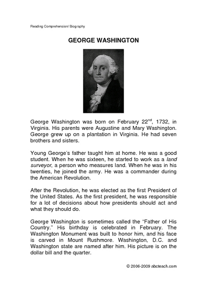 All Worksheets » George Washington Worksheets - Printable ...