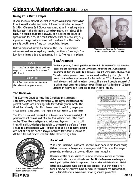 Supreme court case studies worksheets