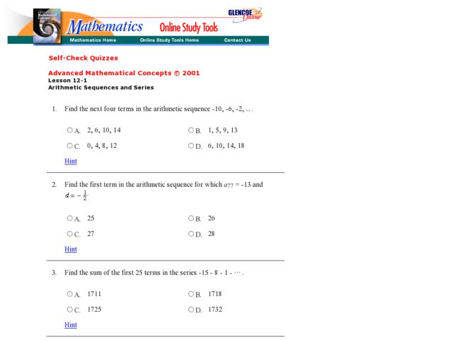 Worksheet Arithmetic Sequence Worksheet glencoe arithmetic sequences and series 2 9th 12th grade worksheet lesson planet