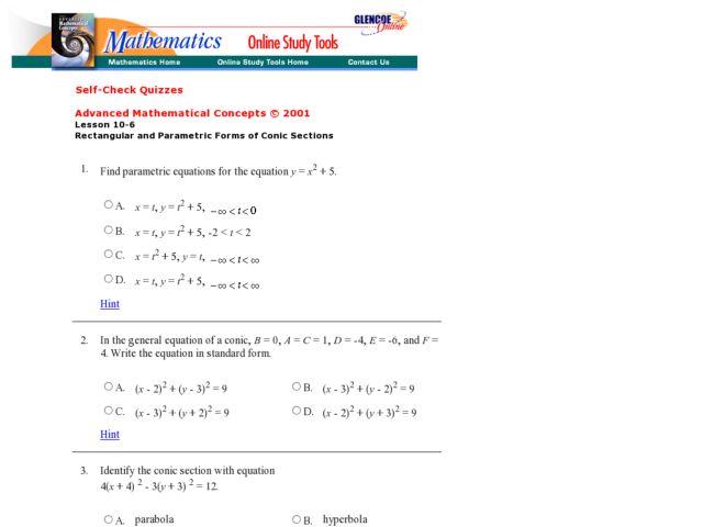 Parametric Equations Worksheet - Gamersn