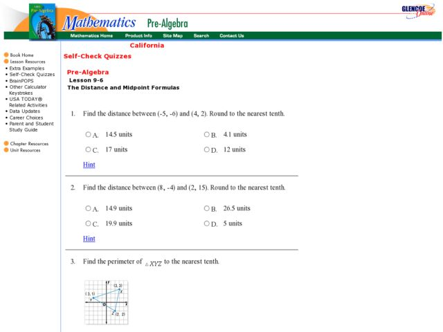 Glencoe Distance and Midpoint 9th 12th Grade Worksheet – Midpoint Worksheet