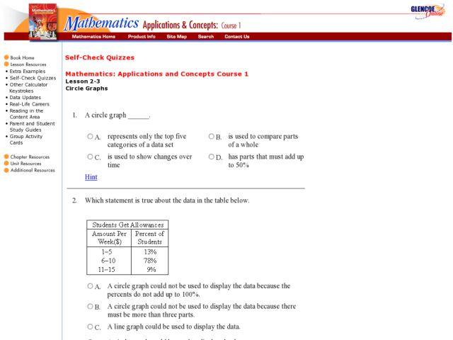 Circle graph worksheets 8th grade