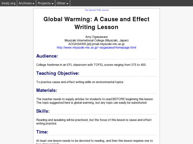 High school essay on global warming