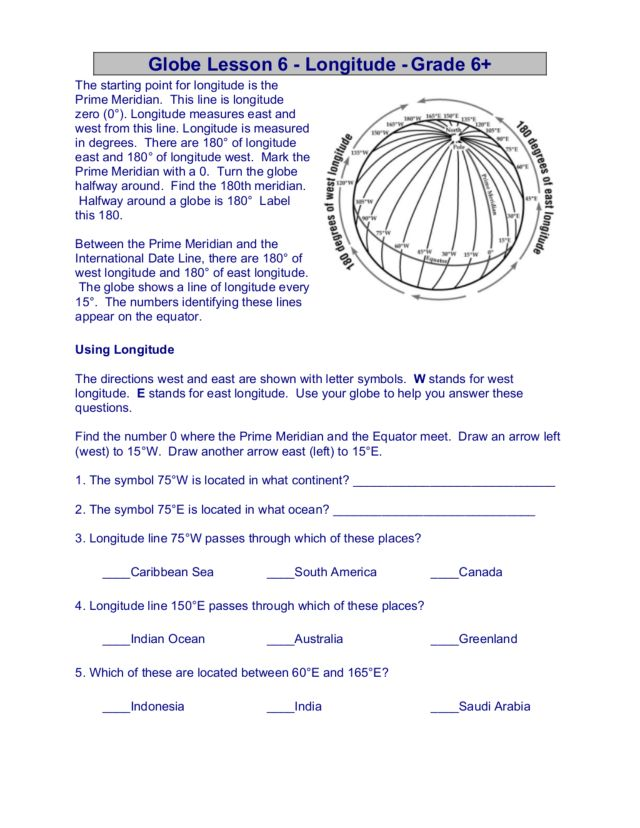 free latitude and longitude worksheets Termolak – Longitude and Latitude Worksheet