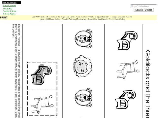Goldilocks and the Three Bears Pattern Activity PreK – Goldilocks and the Three Bears Worksheets Kindergarten
