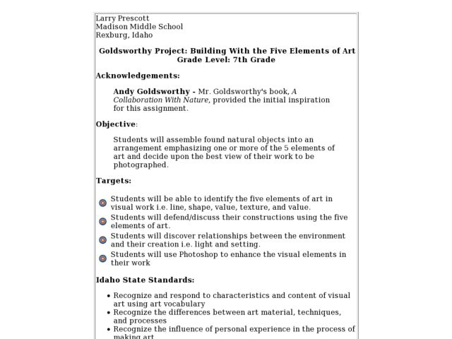 Art 7th Grade Lesson Plan