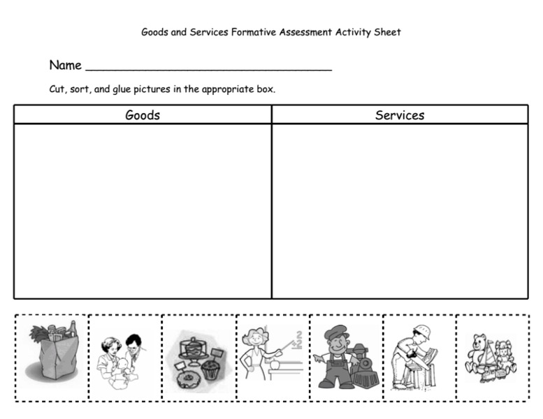 Goods and Services Formative Assessment Activity Sheet 1st - 4th ...