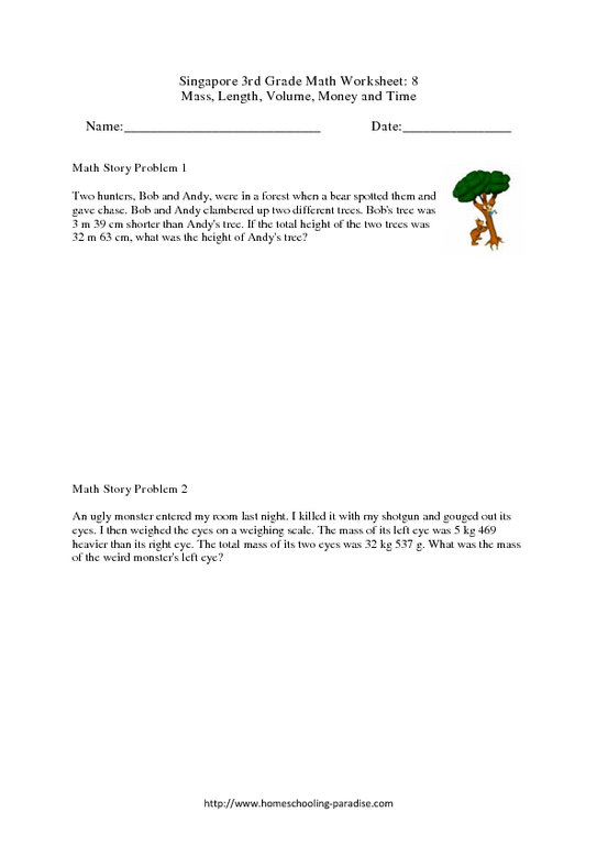 math worksheet : grade 3 singapore math 8 money time mass volume and length  : Grade 8 Time Worksheet