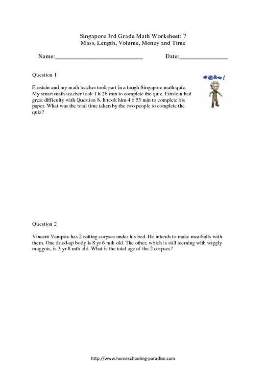Grade 3 Singapore Math: Time and Money, Mass, Volume and Length ...