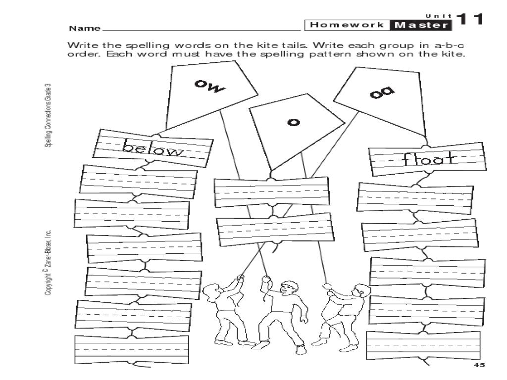 Homework For 3rd Grade Worksheets : Spelling homework for rd graders english teaching