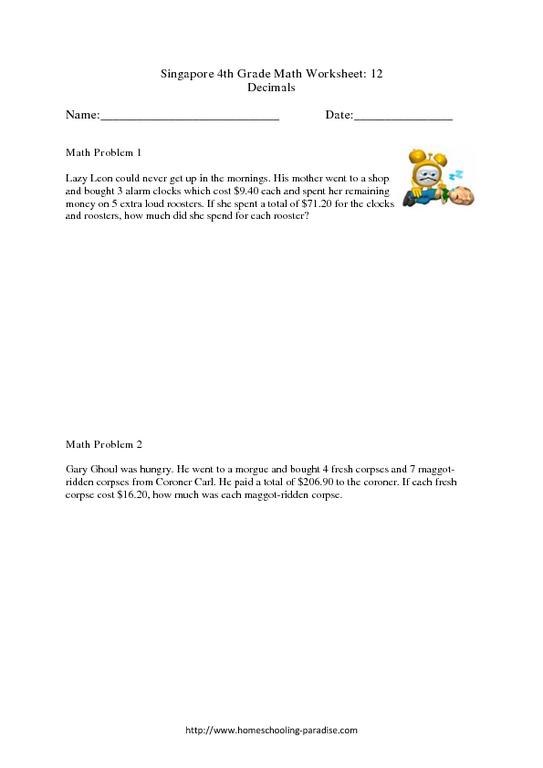 Singapore Math Worksheet & grade 4 singapore math decimals 4th 5th ...