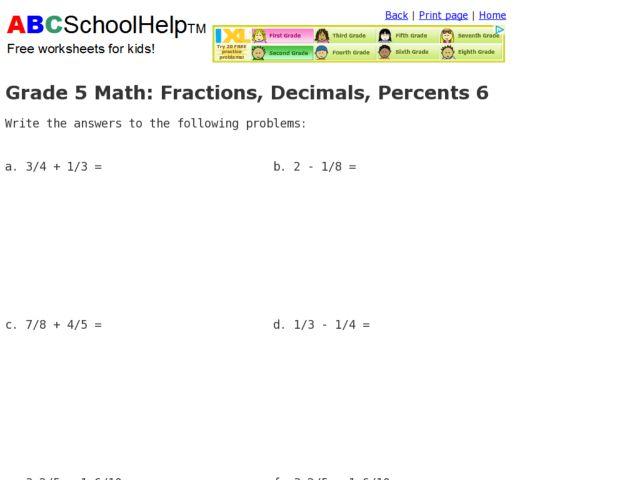 Number Names Worksheets » Percent Worksheets Grade 5 - Free ...