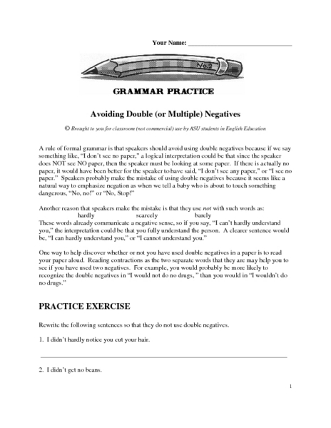 Grammar Practice: Avoiding Double (or Multiple) Negatives 6th ...