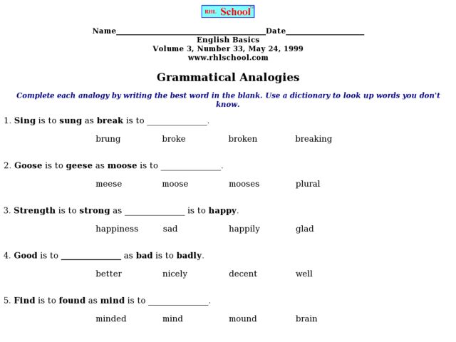 Free Worksheets Analogy Worksheets Free Math Worksheets for – Analogies Worksheet 5th Grade