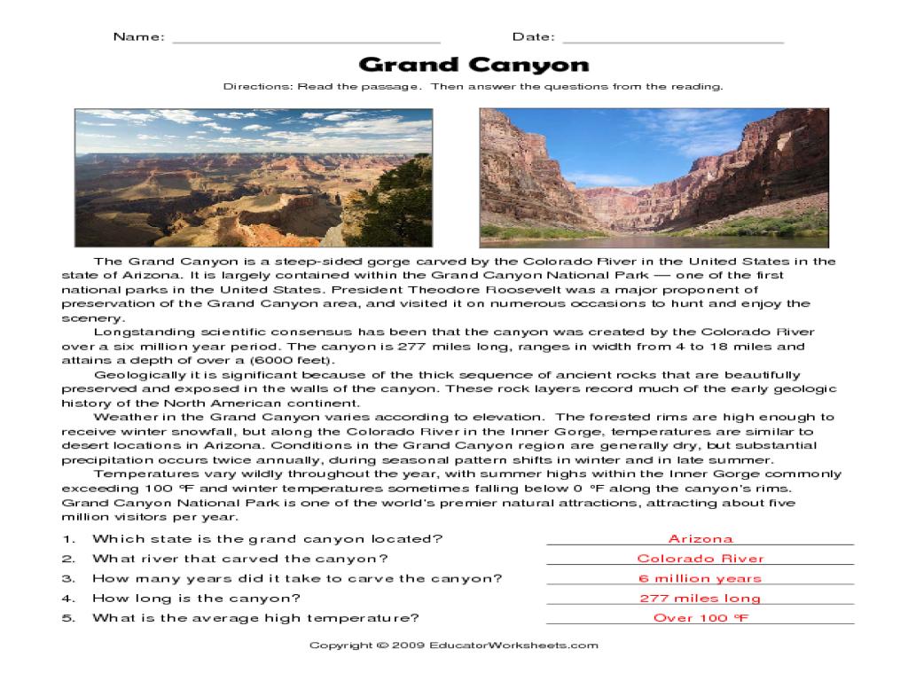 Grand Canyon Worksheets - Secretlinkbuilding