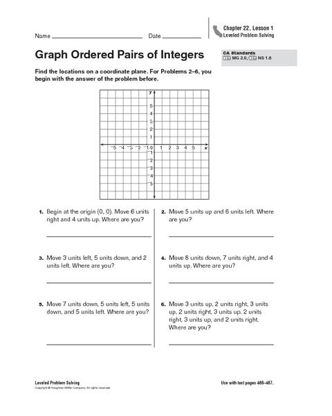 Ordered Pairs Worksheet 5Th Grade
