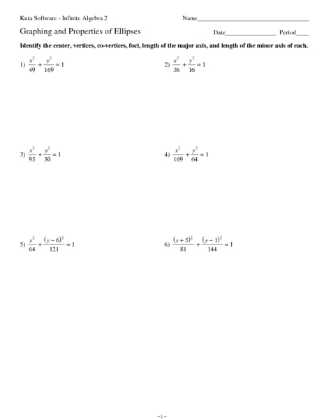 Printables Ellipses Worksheet graphing and properties of ellipses 11th grade worksheet lesson planet