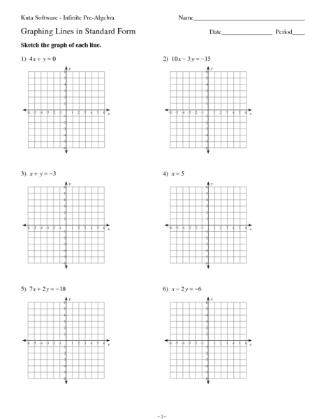 Printables Graphing Linear Equations Worksheet graphing lines in standard form 9th 11th grade worksheet lesson planet