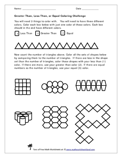 Free printable greater than and less than worksheets for first grade