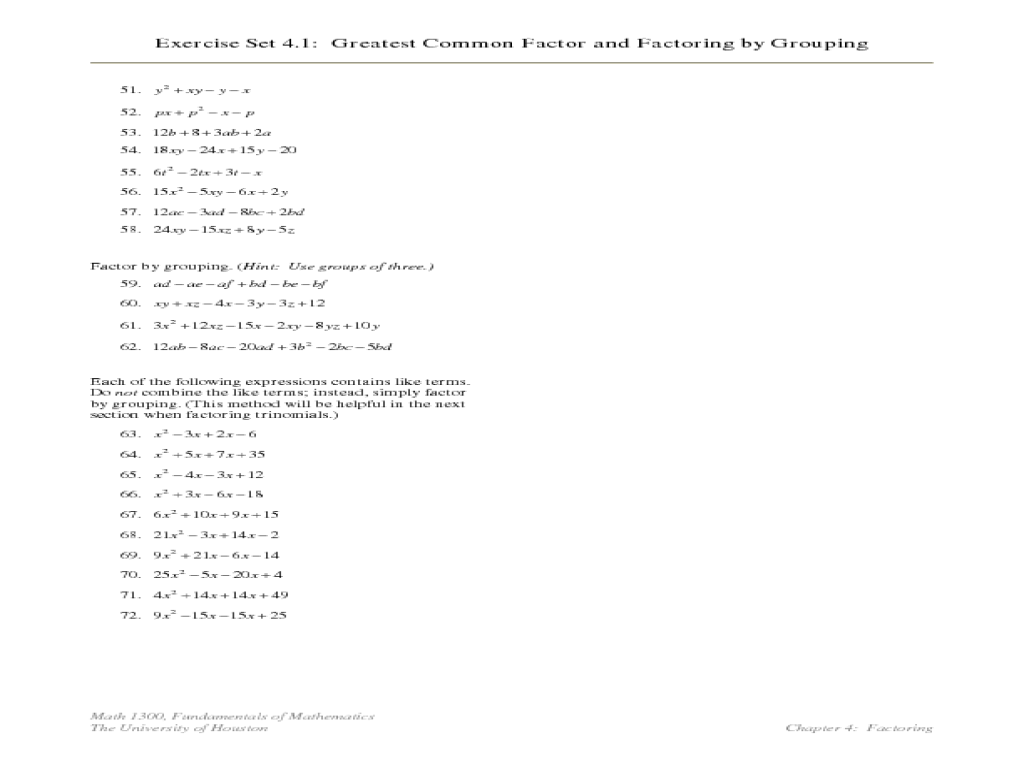 Factoring 6 Factoring By Grouping Worksheet Answers - Proga | Info