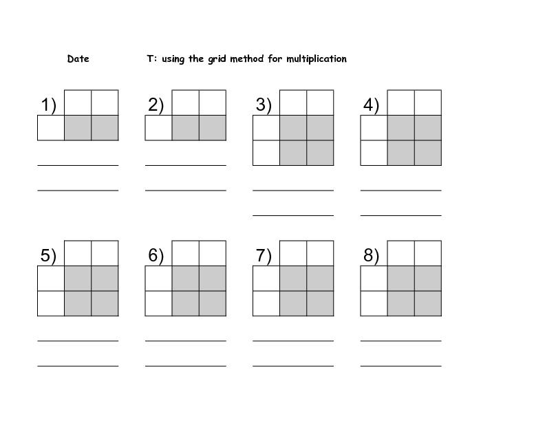 Grid Method Multiplication 3rd 4th Grade Worksheet – Multiplication Grid Worksheets