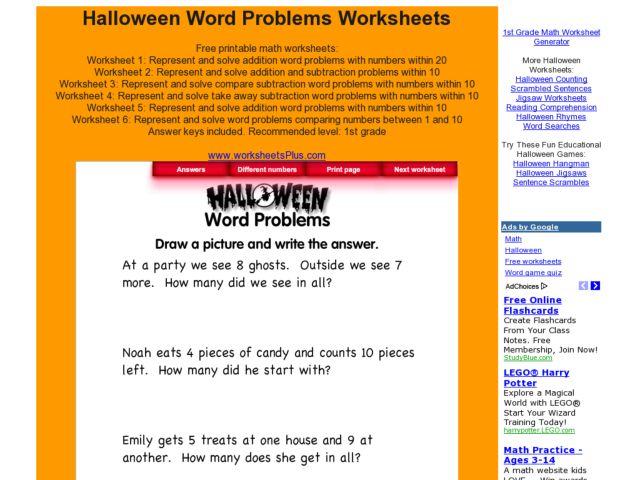 spooky math worksheets collection lesson planet. Black Bedroom Furniture Sets. Home Design Ideas