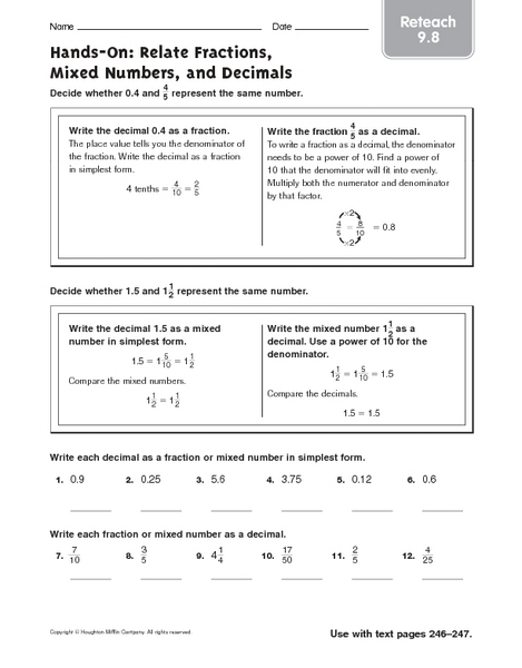 math worksheet : hands on relate fractions mixed numbers and decimals reteach  : Mixed Number To Decimal Worksheet