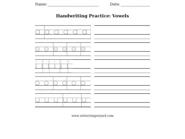 Number Names Worksheets handwriting worksheets 1st grade : Handwriting Practice: Vowels 1st - 2nd Grade Worksheet | Lesson Planet