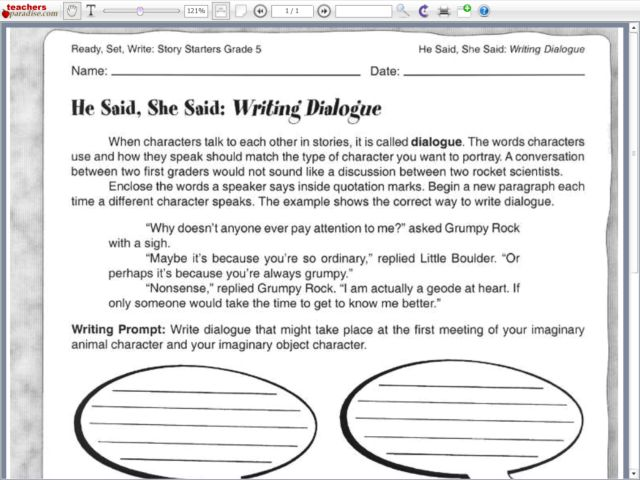 Printables Writing Dialogue Worksheet printables writing dialogue worksheet safarmediapps worksheets he said she 5th 6th grade lesson planet