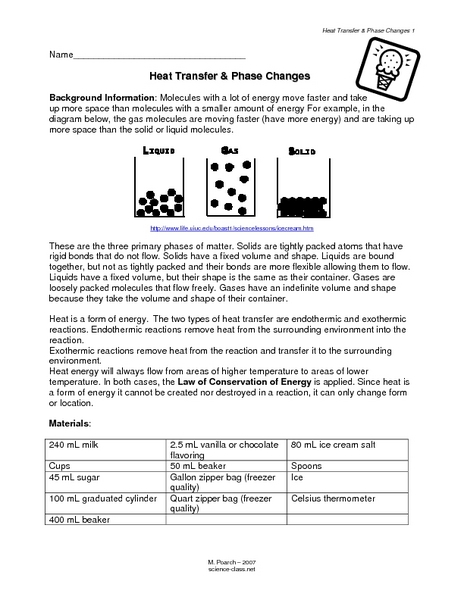 Printables Phase Change Worksheet heat transfer phase changes 7th 10th grade lesson plan planet