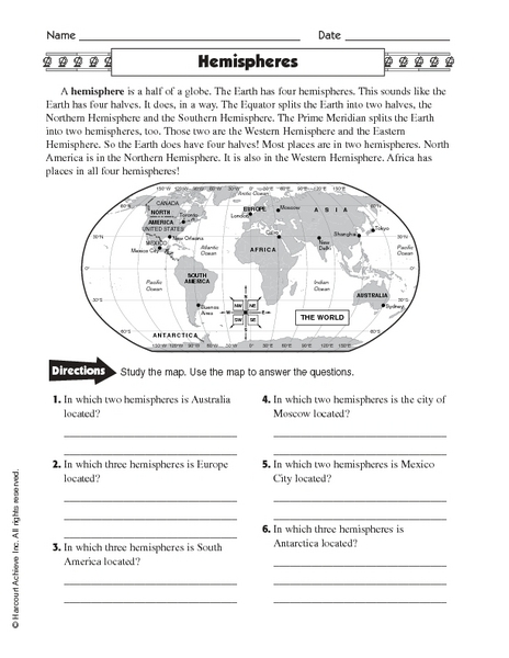 Printables Hemisphere Worksheet hemispheres 4th 6th grade worksheet lesson planet