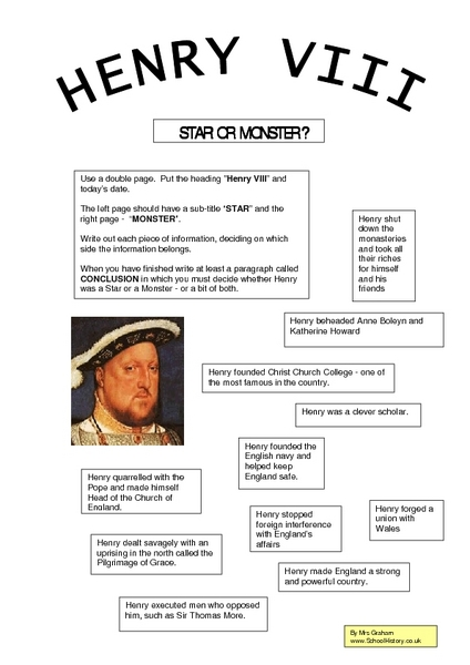 henry the 8th essay Henry viii is the most famous king in english history like all fame, henry's is a  mix of fact and myth he is most famous for having six wives,.