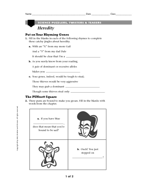 Printables Heredity Worksheets heredity science puzzlers twisters teasers 6th 8th grade worksheet lesson planet