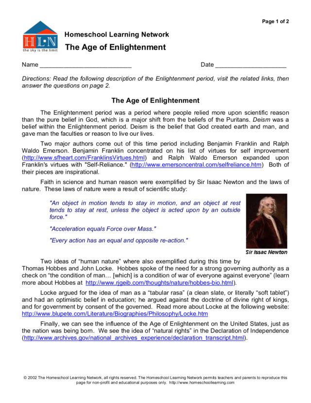 Printables Enlightenment Worksheet homeschool learning network the age of enlightenment 6th 9th grade worksheet lesson planet