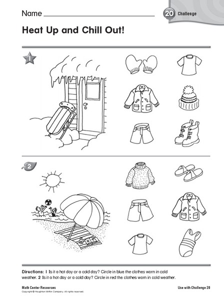 Hot And Cold Weather Clothes Kindergarten 1st Grade Worksheet Lesson ...