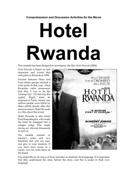 Worksheets Hotel Rwanda Worksheet hotel rwanda comprehension and discussion activities for the movie 9th 12th grade project lesson planet