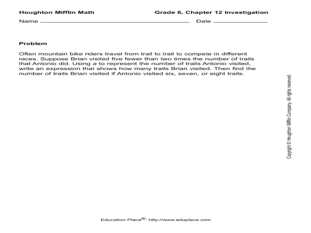 Houghton Mifflin Math Worksheets Grade 3 – Houghton Mifflin Math Worksheets Grade 3