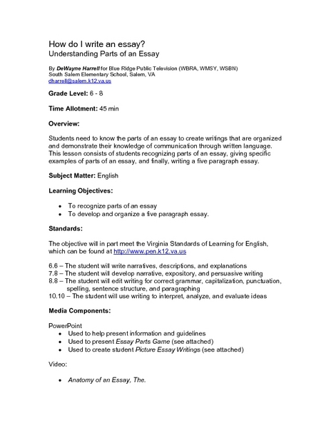How to write an admission essay lesson plan