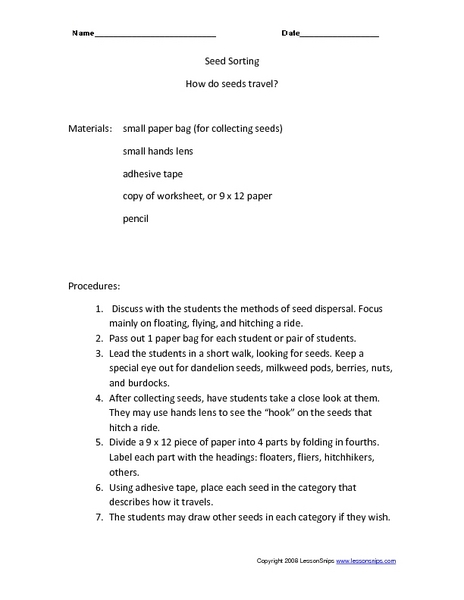 How Do Seeds Travel? 2nd - 3rd Grade Worksheet | Lesson Planet