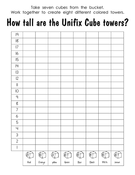 Worksheets Unifix Cubes Worksheets how tall are the unifix cube towers 3rd 6th grade worksheet lesson planet