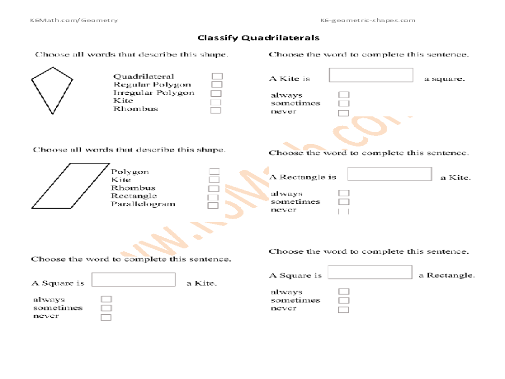 printables classify quadrilaterals worksheet messygracebook thousands of printable activities. Black Bedroom Furniture Sets. Home Design Ideas