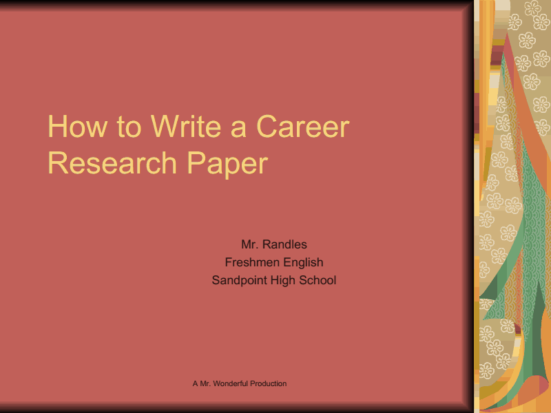 outline of a career research paper Learn about apa and mla outline format, research paper outline sample, download free outline template.
