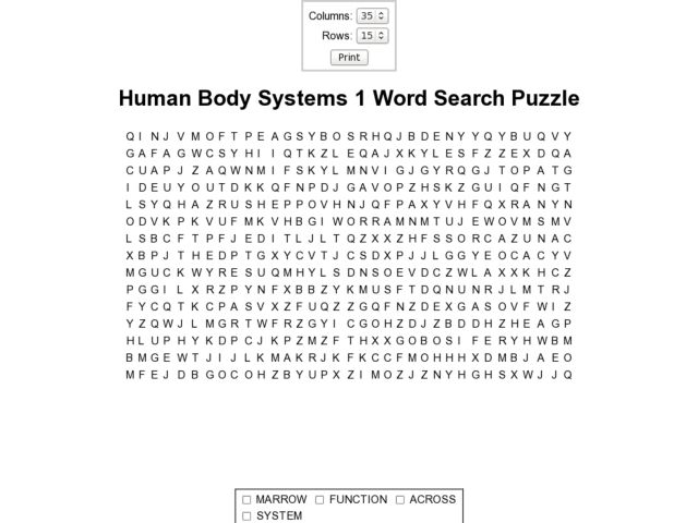 Body Systems Word Search Human Body Systems 1 Word