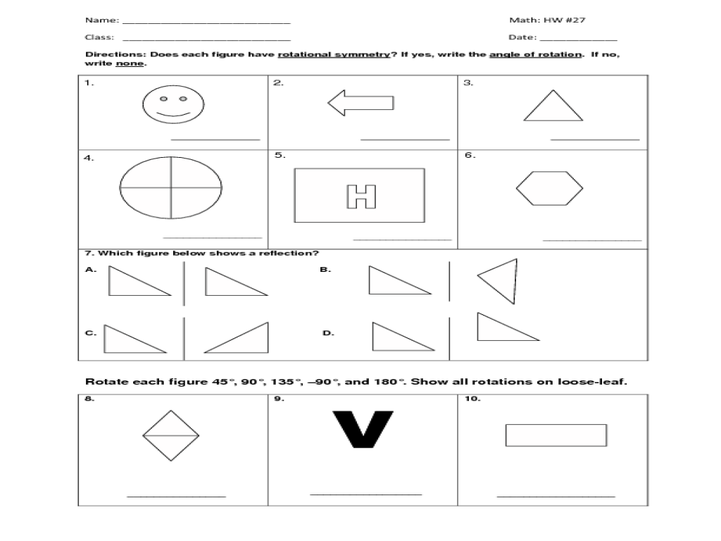 HW #27 Symmetry, Rotation, Reflection 7th - 9th Grade Worksheet ...