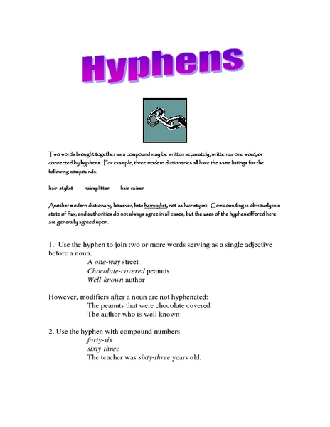 Hyphens 5th - 6th Grade Worksheet | Lesson Planet