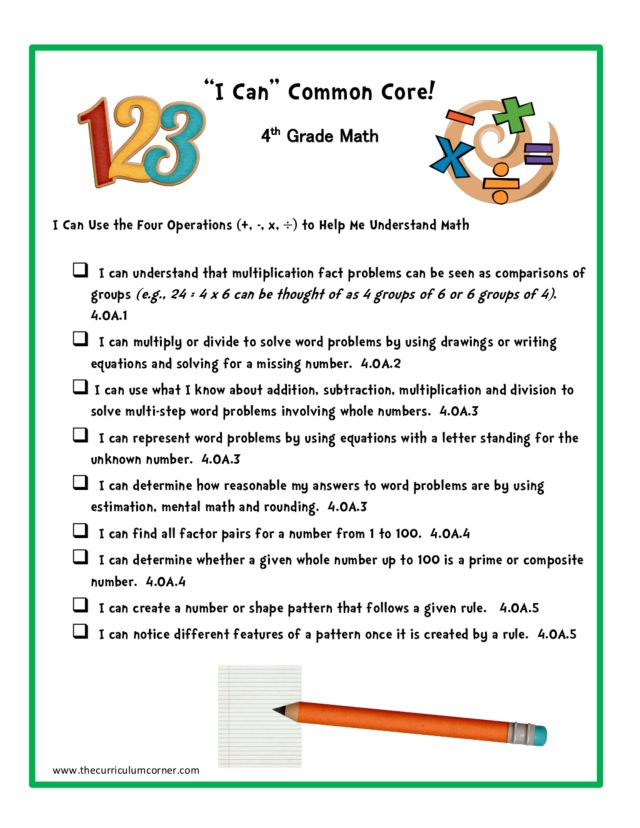 It is an image of Slobbery 4th Grade Common Core Math Standards Printable
